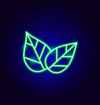 leaves neon sign vector image vector image