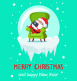 merry christmas happy new year santa banner ball vector image vector image