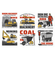 mining industry isolated icons vector image