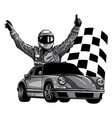 monochromatic a race car vector image vector image