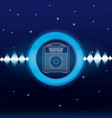 music waves digital emblem vector image vector image