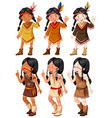Native American Indian girls waving vector image vector image