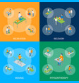 physiotherapy people banner set 3d isometric view vector image vector image
