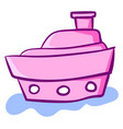 pink cute ship on water on white background vector image vector image
