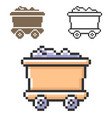 pixel icon coal wagon in three variants fully vector image