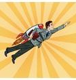 Pop Art Businessman Flying on Rocket Start Up vector image vector image