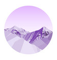 purple mountains low poly in a circle vector image