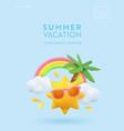 realistic summer 3d flyer design render scene vector image vector image