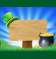 saint patricks day leprechaun sign vector image vector image