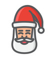 santa claus face filled outline icon new year vector image