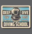 sea diving sport school training retro poster vector image