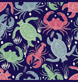 seamless colourful pattern with turtles crabs and vector image vector image