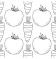 Seamless vegetable black white pattern with vector image vector image