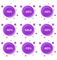 set of nine sale stickers with different discount vector image vector image