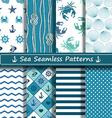 set sea seamless patterns vector image vector image