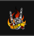 skeleton hand showing horns gesture burning flame vector image