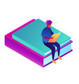 student learning sittng on books isometric 3d vector image