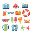 summer sticker icon set paper art design can vector image