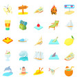 tropical island icons set cartoon style vector image vector image