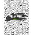 vegan menu healthy food vegetarian banner hand vector image