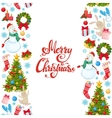 Vertical seamless borders with Christmas icons vector image