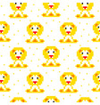 yellow lion cartoon pixel art seamless pattern vector image vector image