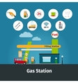 Gas station with flat icons vector image