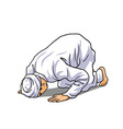 Muslim Doing Salah Salat Shalat Sholaat Sujud vector image