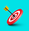 arrow in target dart in red bullseye on blue vector image vector image