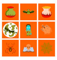 assembly flat halloween cauldron bat full moon vector image vector image