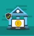 bank laptop bitcoin online check mark vector image