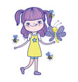 beautiful girl with bees characters vector image vector image