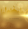 beautiful golden background for eid mubarak vector image vector image