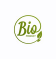 bio product design logo with leaf on white vector image vector image