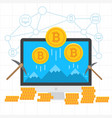 bitcoin mining blockchain background vector image vector image