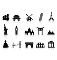 black landmark icons vector image