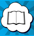 book sign black icon in bubble on blue vector image