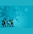 businessmen holding a giant coronavirus together vector image vector image