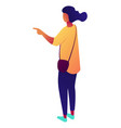 businesswoman standing and pointing finger at vector image