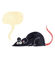 cartoon black rat with speech bubble vector image vector image