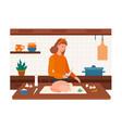 cheerful female character preparing turkey vector image