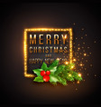 christmas design realistic gold frame with vector image