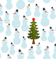 Christmas pattern Snowman and Christmas tree vector image vector image