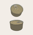 closed food tin cans sketch vector image vector image