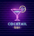 cocktail bar neon logo vector image vector image