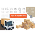 delivery and packaging service composition vector image