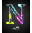 Design Light Effect Alphabet Letter N vector image vector image