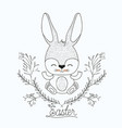 easter poster with cute rabbit with happy vector image