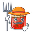 farmer character homemade strawberry marmalade in vector image vector image