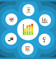 flat icon graph set of segment diagram graph and vector image vector image